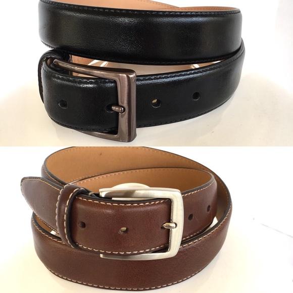 Black//Brown Kirkland Signature Italian Leather Reversible Belt Sz 38
